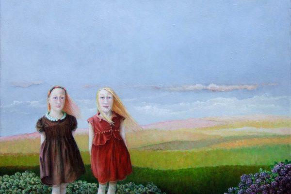 Meisjes in landschap