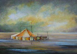wantij-gele-circustent-olieverf-op-doek-50x70